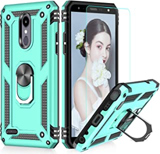 LG Tribute Empire Case,LG Aristo 3/Aristo 2/Rebel 4 LTE/Aristo 2 Plus/Phoenix 4/Tribute Dynasty/Zone 4 Phone Cases with HD Screen Protector, LeYi Magnetic Car Mount Ring Holder Stand Cover, Mint