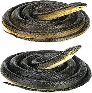 Intsun 2Pcs Realistic Rubber Snake, Scary Fake Snake, Large Black Mamba Snake Toy for Garden Props, Pranks, Halloween Decoration, Keep Birds Away (52 Inch & 50 Inch)