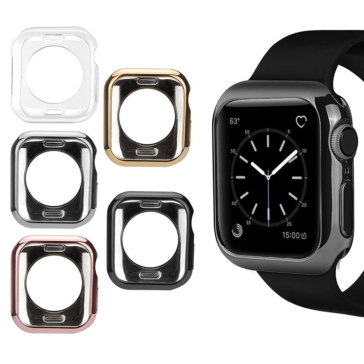 MAIRUI Compatible with Apple Watch Cover Case 40mm [5 Pack], Bumper Guard Protector Accessories Ultra-Slim Lightweight for iWatch Series 4