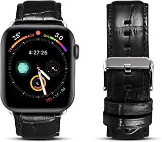 Hand Made Genuine Leather Watch Strap For Apple Watch For iWatch 6/5/4/3/2/1 (42/44mm, BLACK)