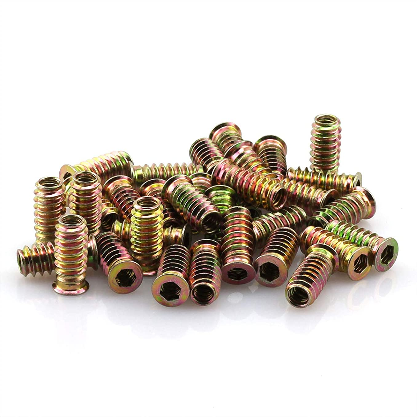 ZRM&E 35pcs 1/4 inch x 25mm Zinc Alloy Threaded Insert Nuts with Hex-Flanged Washer for Wood Hex Drive Head Screw-in Type Furniture Embedded Screw Plug