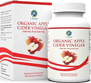 Organic Apple Cider Vinegar Pills – Bloating Relief & Weight Loss – Hunger Suppressant for Women & Men – May Assist with Detox Cleanse, Weight Loss, Healthy Digestion – 1500 mg - 120 caps