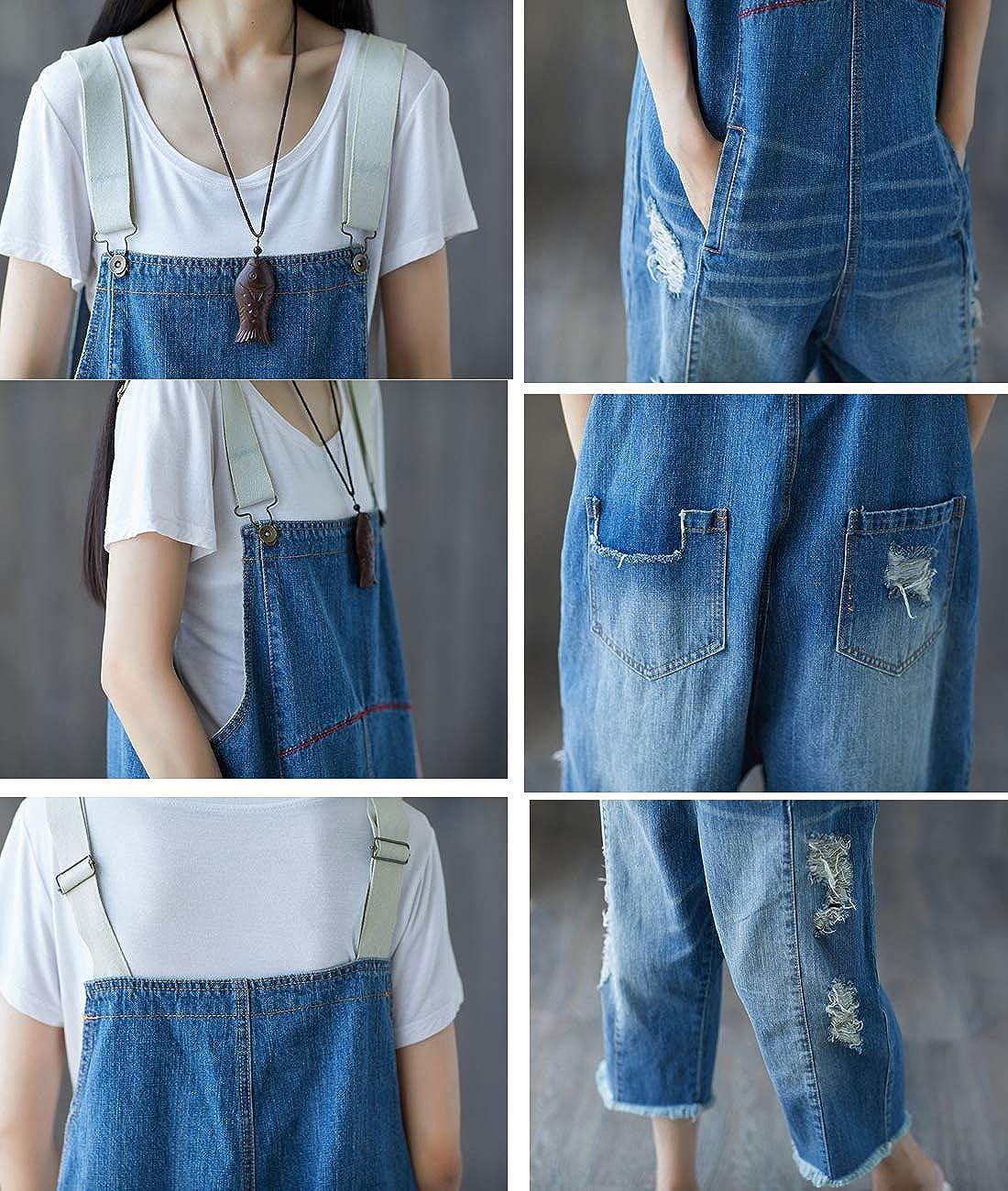 YESNO Damen Latzhose Herbst Drucken Baumwolle Jumpsuit Denim Overall Sommerhose mit Taschen P60