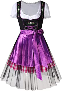 CYNDIE Women's Oktoberfest Plaid Mesh Stitching Embroidery A Line Formal Dresses Suit
