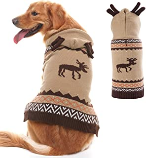 PUPTECK Christmas Dog Hooded Sweater - Reindeer Pattern - Xmas Knitwear Hoodie Winter Clothes Warm Coat