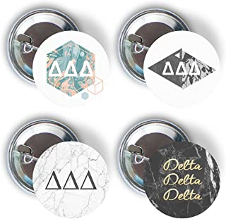 Delta Delta Delta Sorority Marble Variety Pack of Buttons Pin Back Badge 2.25-inch Tri Delta - Marble Pack