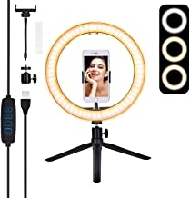 10'Selfie Ring Light, E EyeGrab 10 inch Ring Light with Stand and Phone Holder, Dimmable Desk Ring Light for Makeup/Webcam/Streaming/YouTube/Video conferencing, 3 Color Modes & 10 Brightness Level