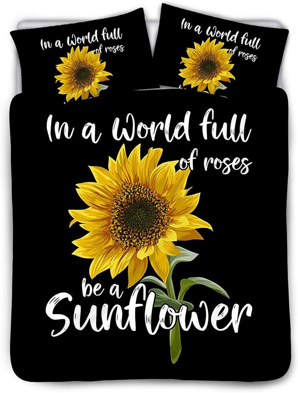 正規認証品 新規格 Belidome Sunflower Black Women 返品交換不可 Duvet Cover with Set Pillows i 2
