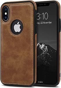 USLOGAN Vegan Leather Phone Case for iPhone XR Luxury Elegant Vintage Slim Phone Cover 6.1 inch (Brown)