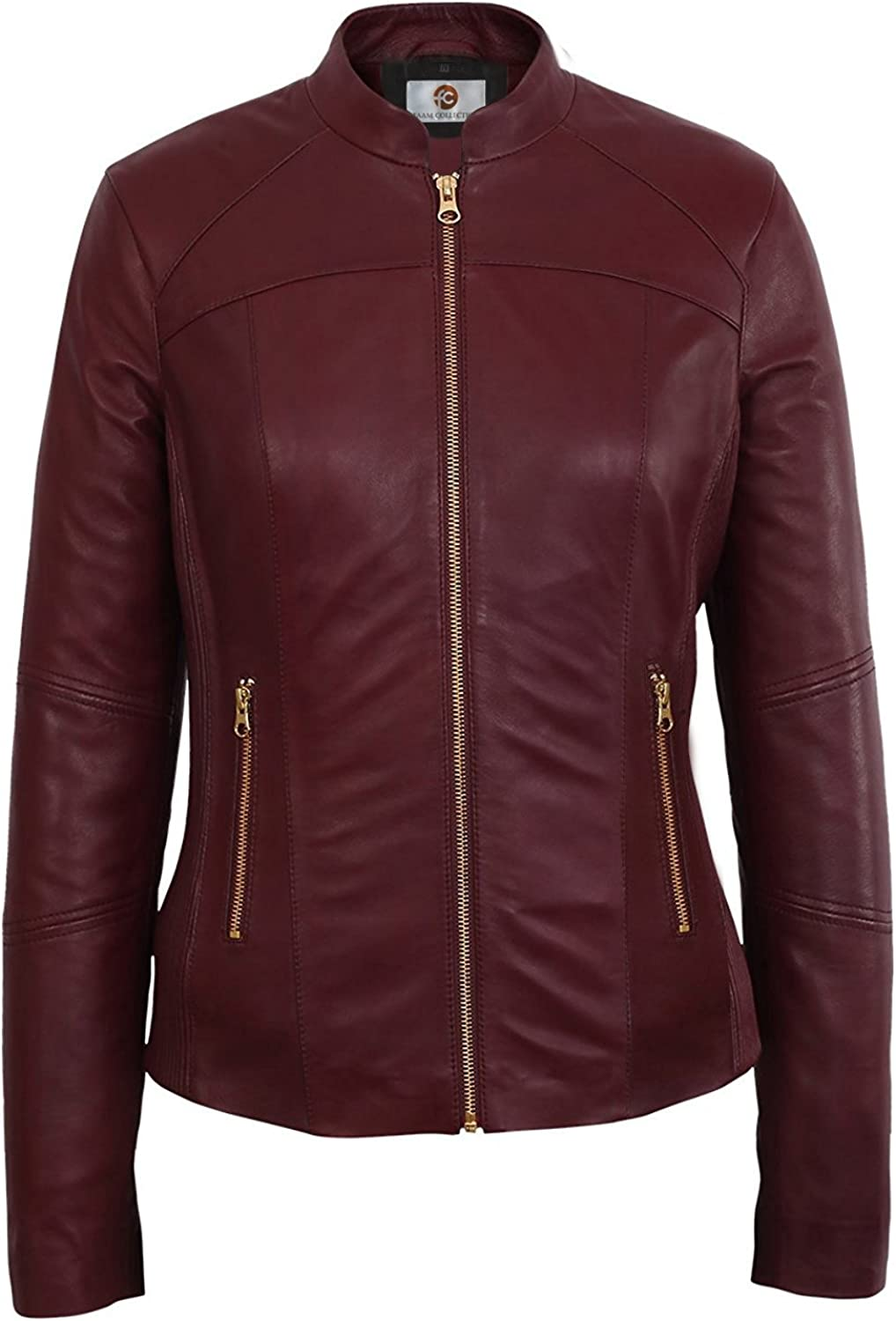 Faam Collection Beautiful Burgundy Party Faux Leather Jacket for Women