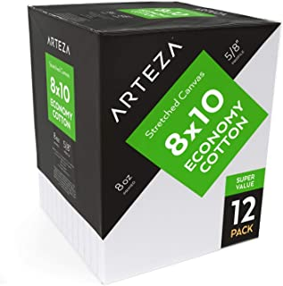 """ARTEZA 8""""x10"""" Stretched White Blank Canvas, Bulk (Pack of 12), Primed 100% Cotton, for Painting, Acrylic Pouring, Oil Paint & Wet Art Media, Canvases for Professional Artist, Hobby"""