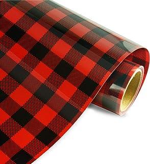 Christmas Buffalo Plaid Heat Transfer Vinyl by Sworae -10 Inch x 5 Feet Classic Red Buffalo Pattern HTV Star Pack for DIY ...