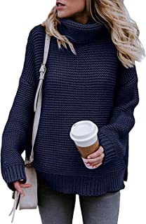 FZ FANTASTIC ZONE Women's Turtleneck Pullover Sweater Long Sleeve Oversized Chunky Knit Warm Tops Navy Blue