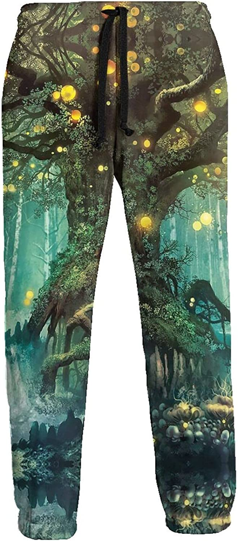 Men's Jogger Sweatpants Magical Tree Yellow Ball 3D Loose Joggers Pants with Drawstring Long Pants