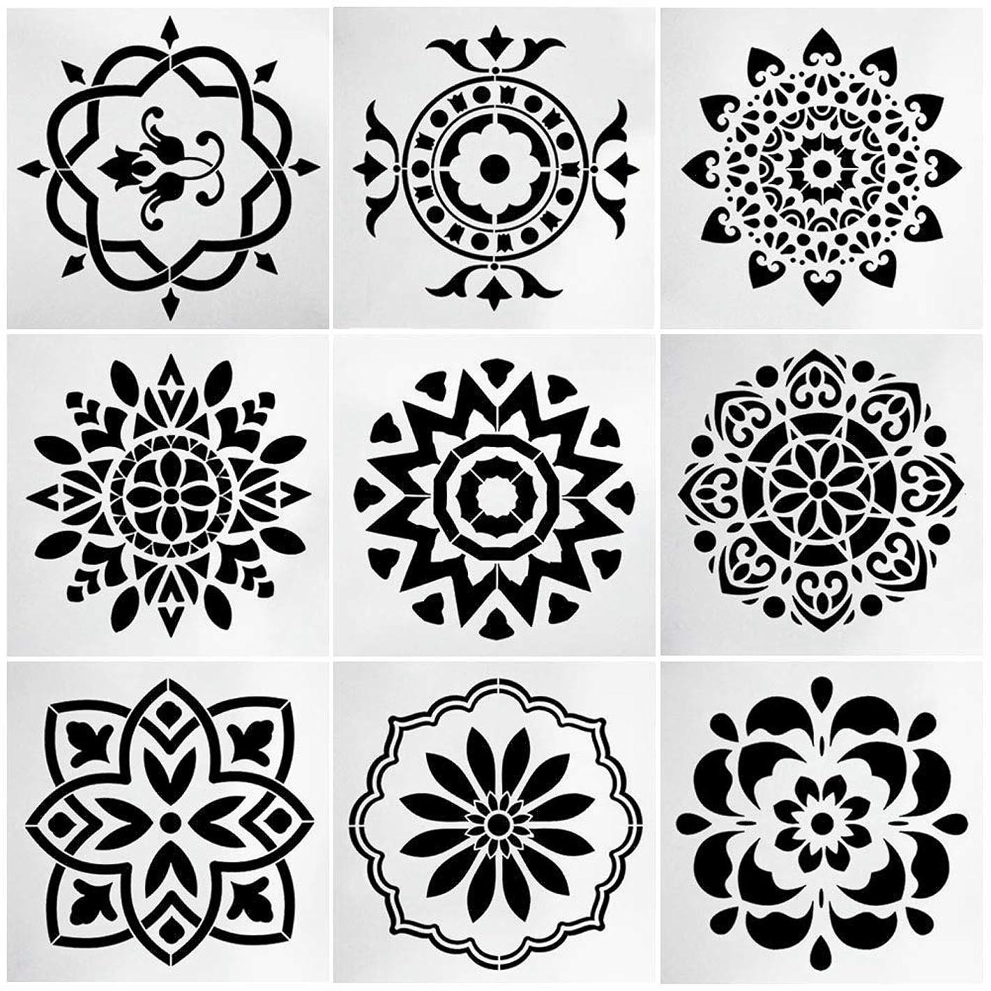 9pcs Stencils Set Tile Stencil, Uspacific 6x6 Inch PET Material Tile Paint Stencils for Laser Cut Painting, Walls, Fabric, Airbrush, Furniture, Floor (1)