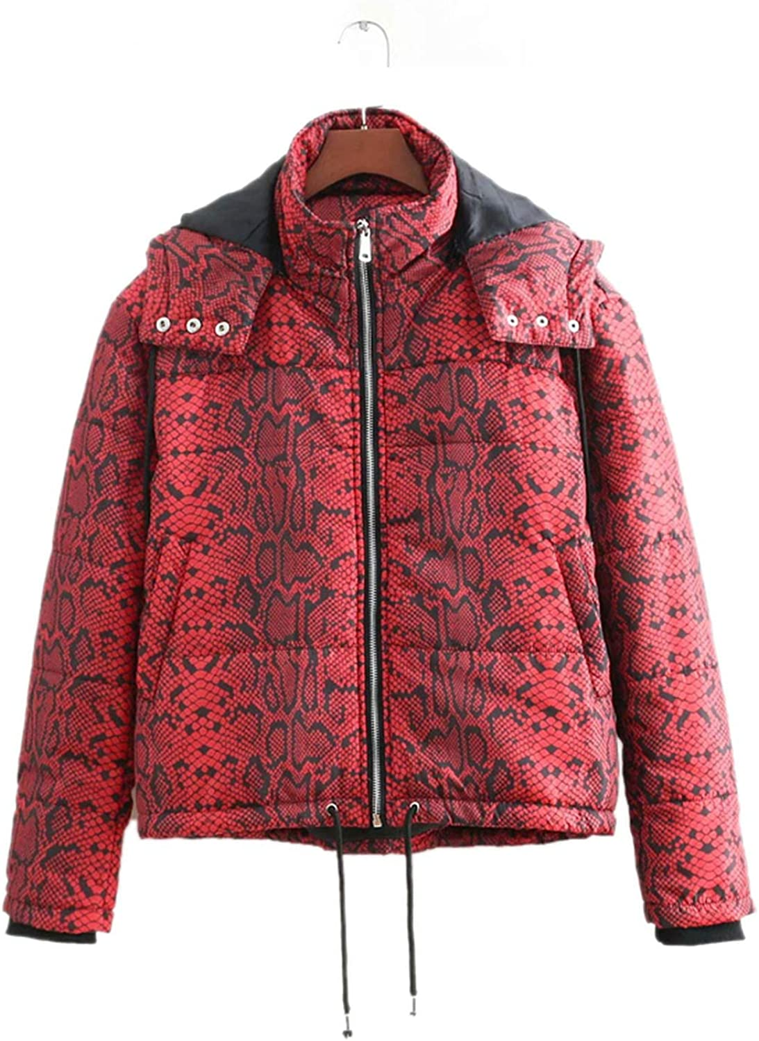 Brave pinkmary Red Snake Skin Print Parkas Winter Women Warm Jacket Cotton Padded Coat Feminine Outerwear
