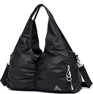 Kemy's Gym Bag 40L Sports Travel Duffel Bag for Men and Women with Shoes Compartment (Black)