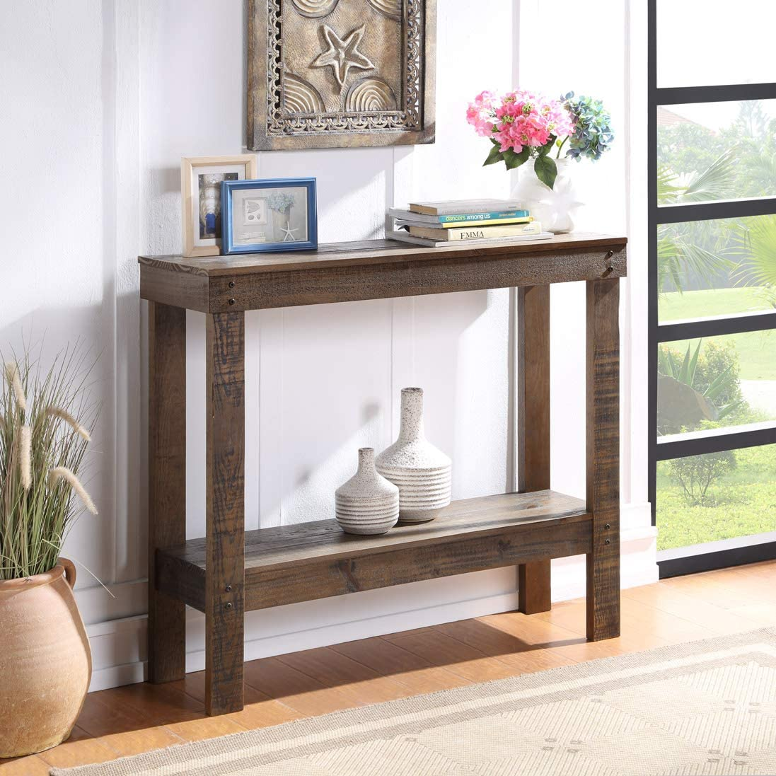 Console Table 2 毎日続々入荷 Tier for Tab 待望 Rustic Farmhouse Entryway