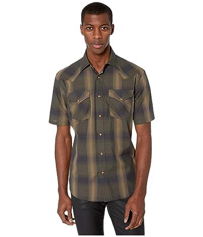 Pendleton Frontier Shirt Short Sleeve (Olive/Brown Dobby Plaid) Men
