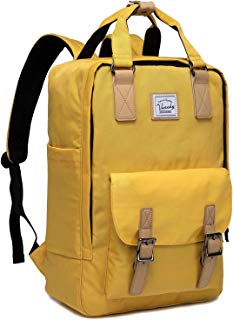 Laptop Backpack for Men and Women,VASCHY Unisex Vintage Water Resistant Casual Daypack Rucksack Bookbag for School College Yellow
