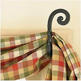 Curtain Hooks - Iron - Forged Scroll Pair