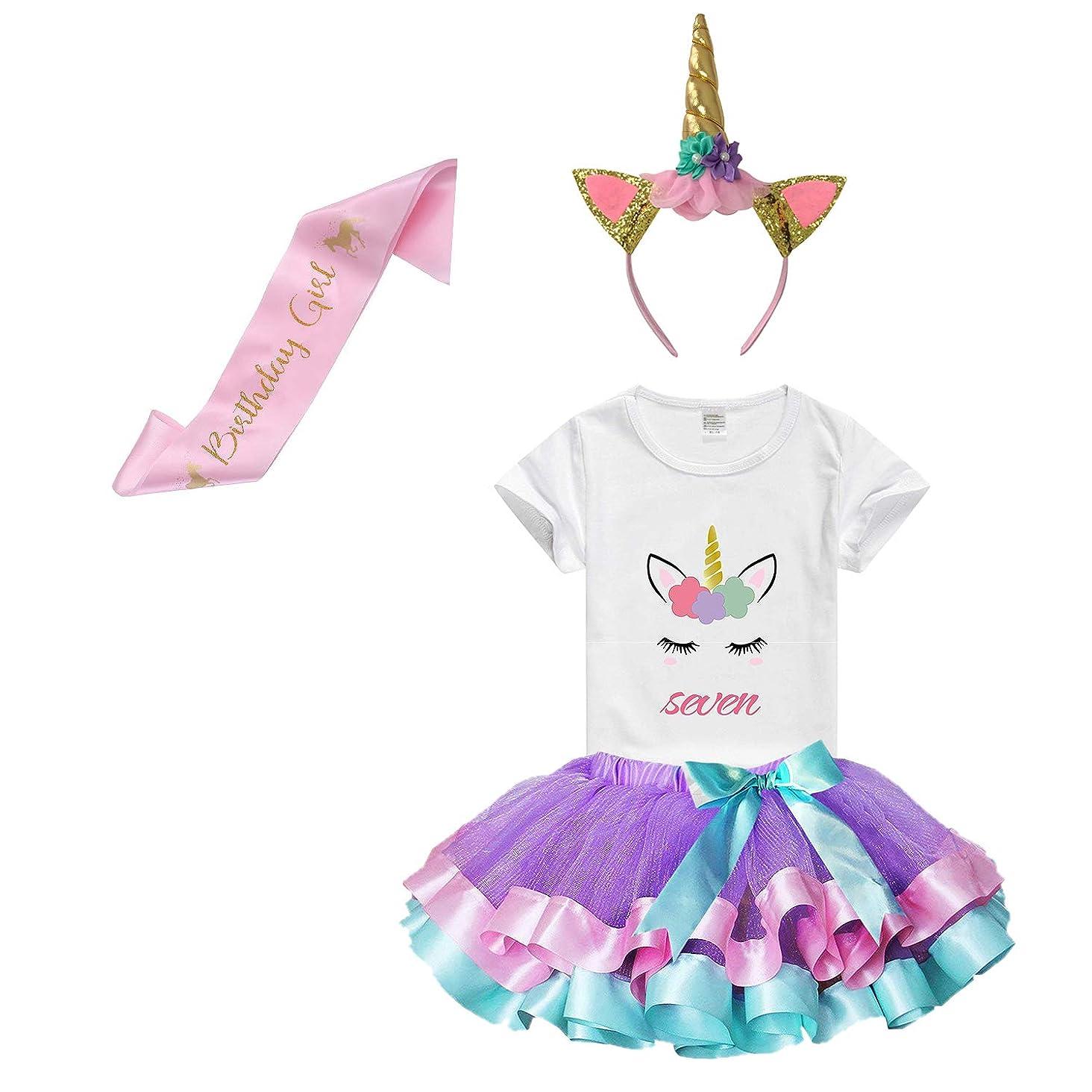 Girls Rainbow Tutu Skirt with Birthday Unicorn Tshirt & Unicorn Headband