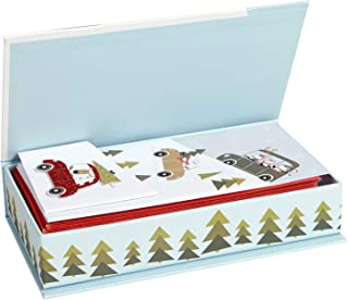 C.R. Gibson Car Themed Boxed Christmas Cards, 5'' W x 7'' L, 33pc