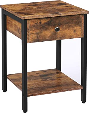 HOOBRO Nightstand, 2-Tier End Table, Industrial Side Table with Drawer and Storage Shelf, Wood Accent Table with Metal Frame,