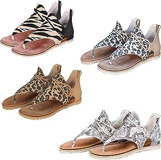 Sandalias de Leopardo Retro con Cierre de Leopardo para Mujer, Sandalias Planas de Punta Abierta, para Citas, Compras