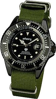 Infantry Mens Analogue Quartz Wrist Watch Luminous Black Dial Date Display Green NATO Strap