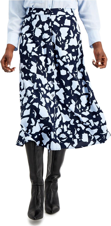Alfani Womens Navy Printed Midi A-Line Skirt Size S