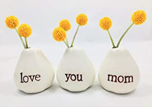 Gift for Mom...LOVE YOU MOM Bud Vases for Birthday Gift, Get Well Gift, Thank You Gift Mothers Day Gift, Christmas Gift, Valentines Day Gift, Going Away Gift or JUST BECAUSE!