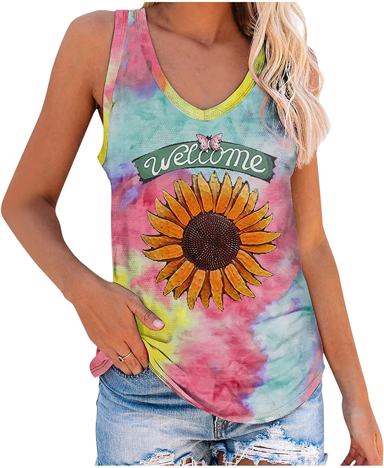 Pandaie Sunflower Sleeveless Shirts for Neck Baltimore Mall Dye Scoop Women Tie OFFicial site