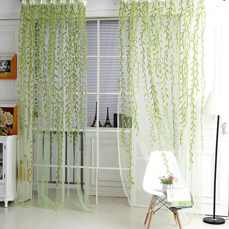 背景守銭奴無傷QIN レースカーテン おしゃれ ボタニカル 植物柄 ヤナギの枝 ポリエステル製 薄手 良い透け感 自然の風を通し 明るく 薄いカーテン 気持ちいい 安らぎを感じる風合い 新生活応援 取り外し簡単 100x200cm グリーン