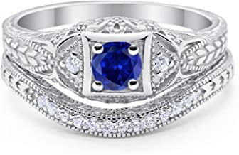 Blue Apple Co. Art Deco Vintage Style Two Piece Wedding Engagement Bridal Set Ring Band Round CZ 925 Sterling Silver Choose Color