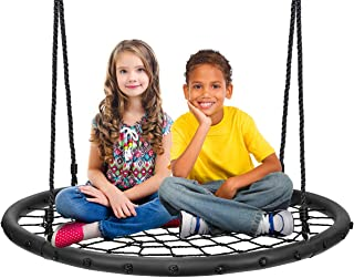 "Sorbus Spinner Swing – Kids Round Web Swing – Great for Tree, Swing Set, Backyard, Playground, Playroom – Accessories Included [New Improved 2020 Design!] (40"" Net Seat)"