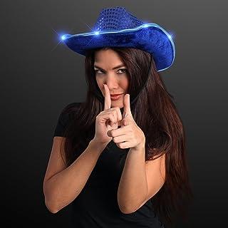 FlashingBlinkyLights Blue Sequin Light Up LED Cowboy Hat