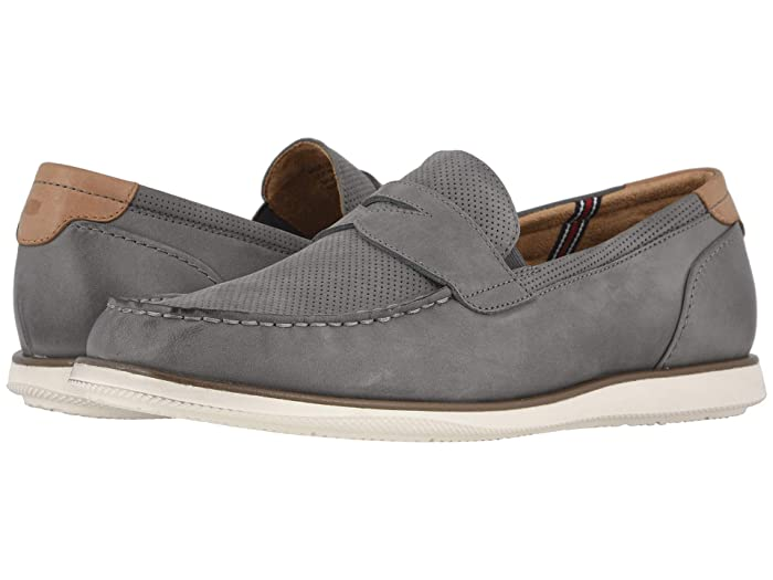 Florsheim  Atlantic Moc Toe Penny Loafer (Gray Nubuck/White Sole) Mens Shoes