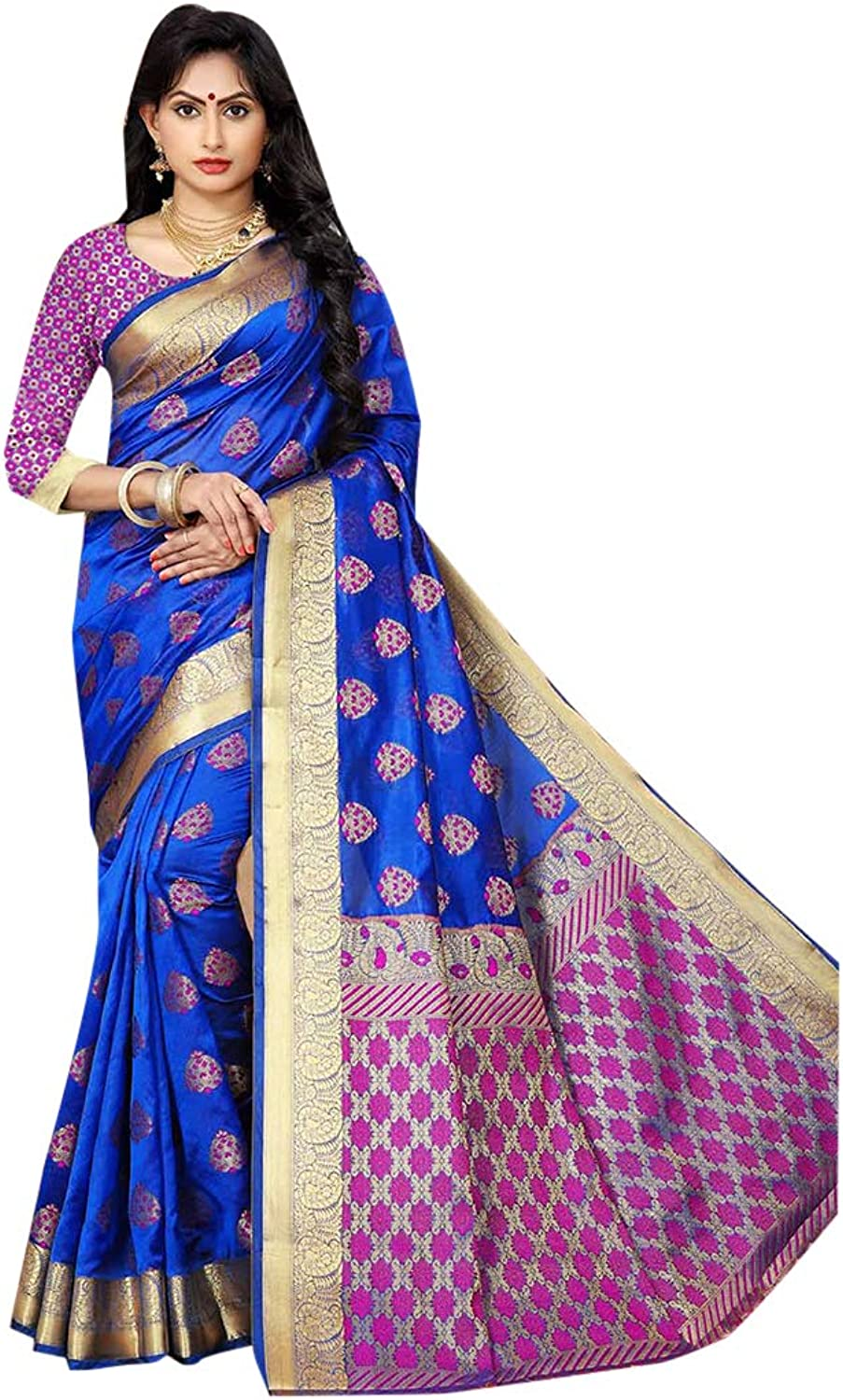 Royal bluee Indian Ethnic Traditional Designer Saree with Blouse piece Festive Women Sari for Party 7781