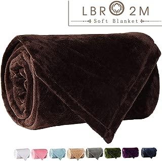 LBRO2M Fleece Bed Blanket King Size Super Soft Warm Fuzzy Velvet Plush Throw Lightweight Cozy Couch Blankets ((90x104 Inch) Coffee)