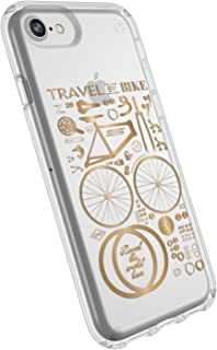 Speck Products Presidio Clear+Print iPhone SE 2020 Case/iPhone 8/7/6S/6 - CITYBIKE Metallic Gold Yellow/Clear