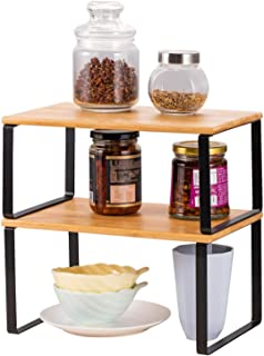 NEX Bamboo Kitchen Cabinet and Counter Shelf Organizer, Stackable & Expandable
