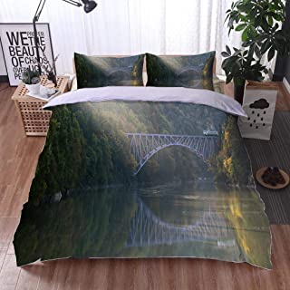VROSELV-HOME Kids Quilt 3 Piece Bedding Set,Fukushima First Bridge Tadami River Japan,Soft,Breathable,Hypoallergenic,Bedding Sets,1 Duvet Cover,1 Pillowcase
