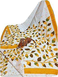 بلوزة نسائية صيفية بيضاء ناعمة من القطن الخالص مصنوعة من قماش الساري المرئي مصبوغ يدويًا من باكرو طباعة مموهة 926a 2