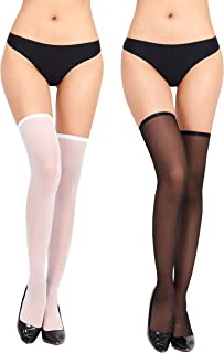 DDSCOLOUR Black White Thigh High Stockings for Women Lingerie Top Stay Up Silky Semi Sheer Pantyhose for Women Hold Up Nyl...