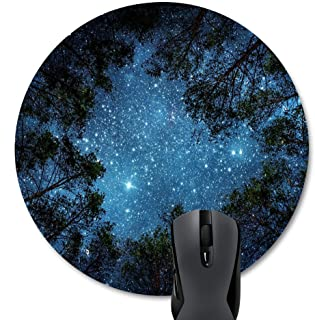 Wknoon Beautiful Night Sky Round Mouse Pad, The Milky Way and The Trees Mouse Mat, Sublime Forest Nature View Circular Mouse Pads