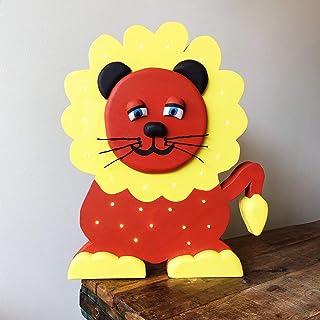 LuMagical Leon il Re: luce notturna in legno fatta a mano per bambini Collezione di animali - Lampada da comodino a LED pe...