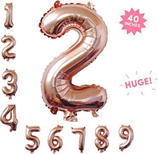 40 Inch Rose Gold Jumbo Digital 2 Number Balloons Huge Giant Balloons Foil Mylar Number Balloons for Birthday Party,Wedding, Bridal Shower Engagement Photo Shoot, Anniversary (Rose Gold ,Number 2)