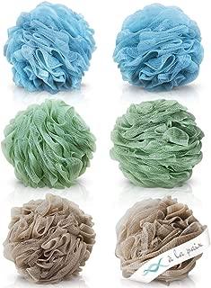 Loofah Bath Sponge XL 70g Set of 6 Spa Colors by À La Paix - Soft Exfoliating Shower Lufa for Silky Skin - Long-Handle Mesh Body Poufs- Men and Women's Luffas - Lush Texture - Full Cleanse & Lather