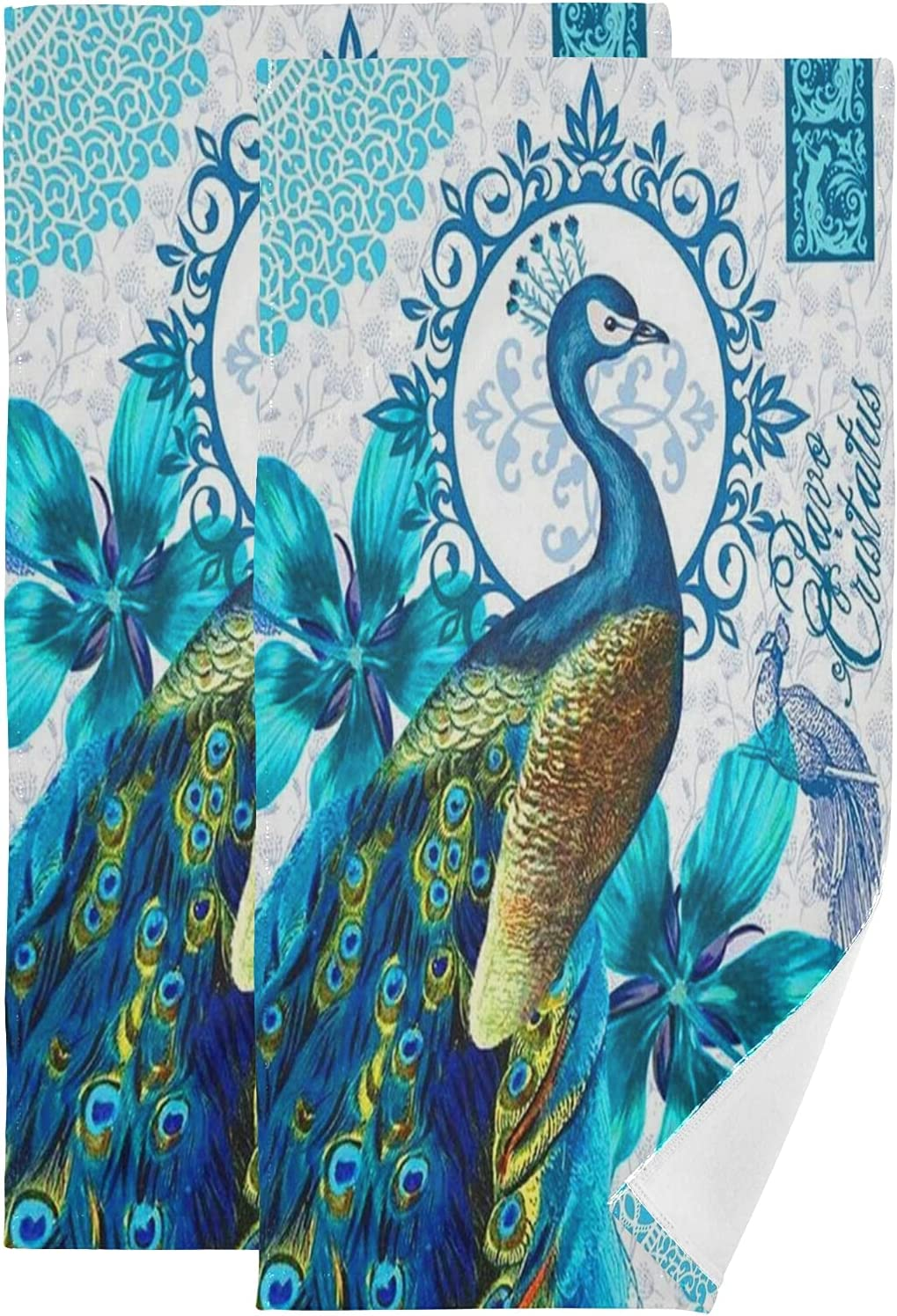 ALAZA Peacock Hand Ranking TOP16 store Towels Soft Absorbent Decorative Bath